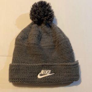 Gray Nike Pom Pom Beanie